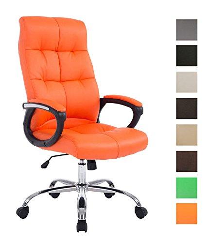 CLP XXL Bürostuhl Poseidon mit Kunstlederbezug | Höhenverstellbarer Drehstuhl mit Laufrollen | Chefsessel mit max.Tragkraft bis zu 160 kg Orange