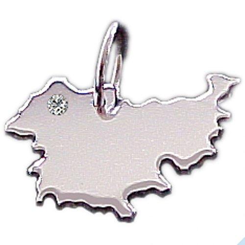 Thüringen Anhänger mit Brillant am Wunschort in 925 Silber