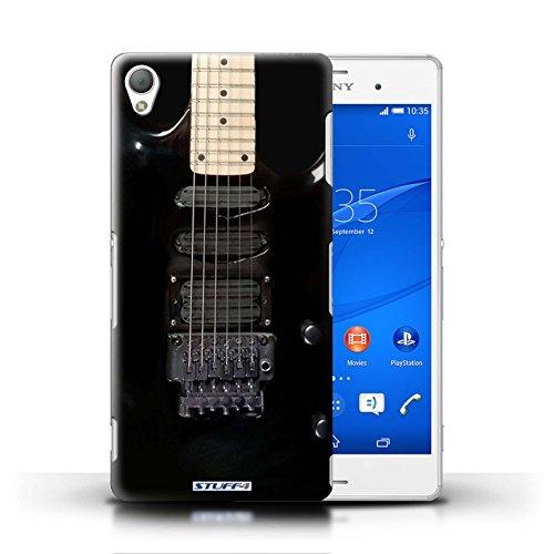 Kobalt® Imprimé Etui / Coque pour Sony Xperia Z3 / Acoustique en Bois conception / Série Guitare Noir Electrique