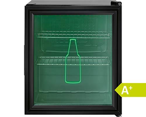 Bomann KSG 7281 Glastür-Kühlschrank für Getränke & Flaschen // EEK A+ // 46 Liter // HxBxT 51.5x44x46.5 cm // 99 kWh/Jahr // LED Innenraumbeleuchtung