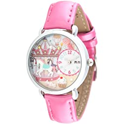 Women's Pink Leather 3D Mini World Watch - Fun Fair Design 964
