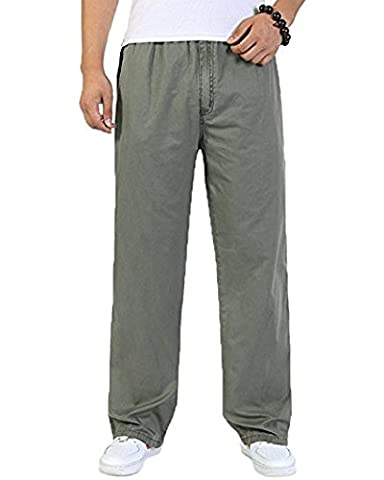 Men's Cotton Cargo Elastic Waist Loose-Fit Leisure Work Pants (army green, 6XL)