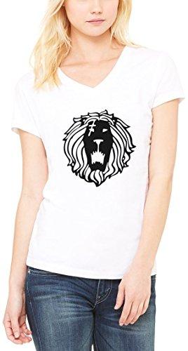 Rastaman Lion Graphic Women's V-Neck T-shirt Blanc