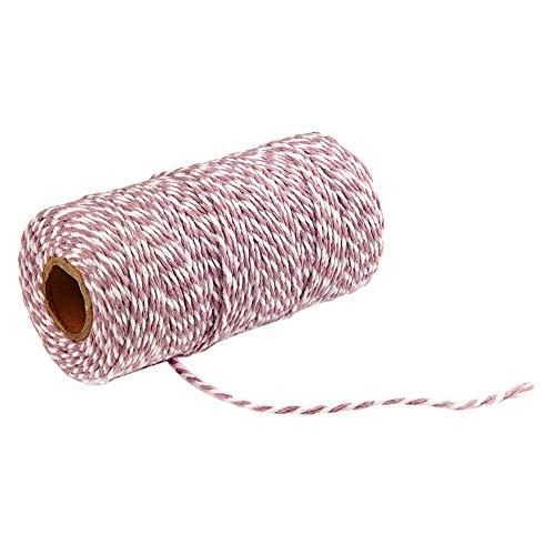 Cord Bäcker (MoGist 100m Baumwollseil 2mm Bäcker Bindfäden Bastelschnur Schnur String Kordel Garten Geschenk Etiketten Seil für DIY Handwerk Bindfäden Dekoration (Lila + Weiß))