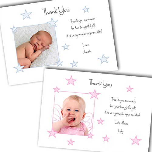 Simply Butterfly Designs 10 Personalised Baby Photo Thank You/Announcement/Christening Cards. Boy/Girl FREE DELIVERY (SBD 8)