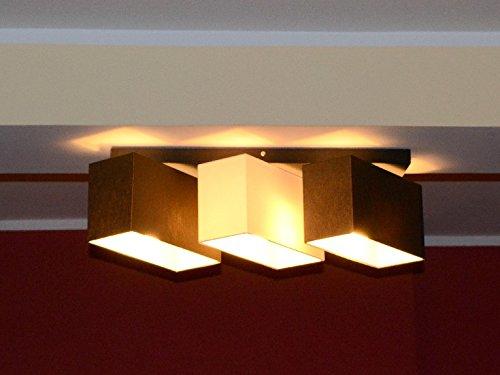 Dunkle Cappuccino-holz (Deckenlampe Deckenleuchte Milano B3D Lampe Leuchte 3 flammig verschiedene Varianten (Braun-Cappuccino-Braun))