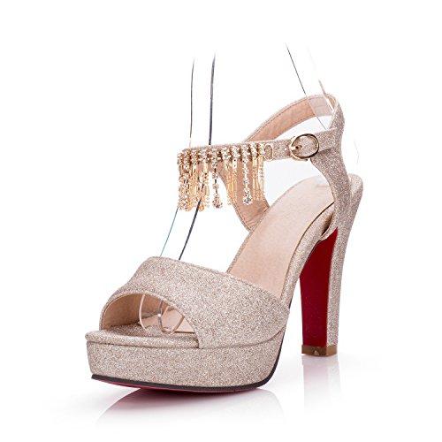LGK&FA Estate Donna Sandali sandali Donna Scarpe di nozze di diamante tallone grossolana Super tavola di acqua alta Bocca di pesce scarpe di grandi dimensioni 37 argento 37 gold