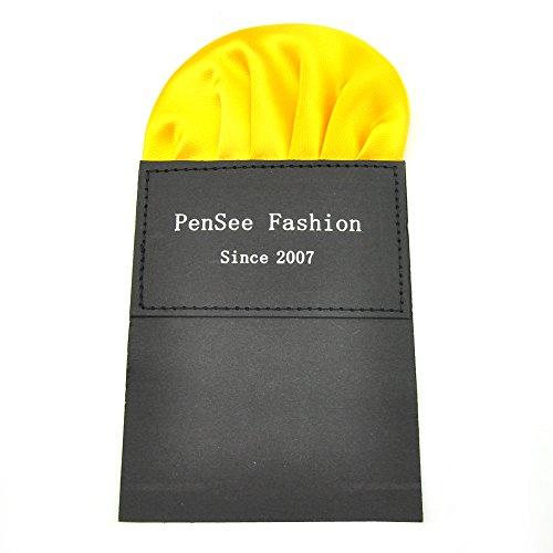 PenSee soie pour homme comprenant 1 noeud Papillon prénoué & Hanky de cartes Différentes couleurs - Or jaune