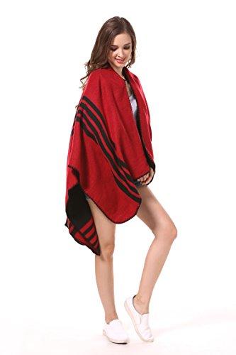 MANUMAR Ponchos für Damen | Cape in rot -