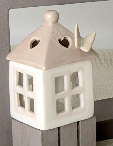 Luna Laterne (Luna Box Porzellan-Laterne Dach pink mit Schmetterling)