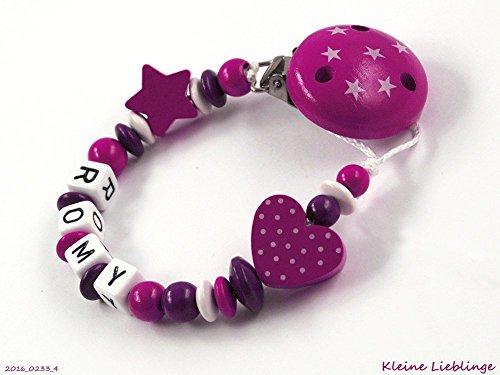 Schnullerkette mit Namen für Mädchen Sternenclip max 7 Buchstaben Stern Herz - dunkelpink, beere, weiß - Taufgeschenk - Holz - Silikonring - Baby Geburt Geschenk - Geschenk zur Taufe