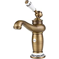 Fuloon Vintage Estilo Individual de control Rústico Baño Grifo Antiguo acabado baño grifo del fregadero con la porcelana buena calidad (Cobre)