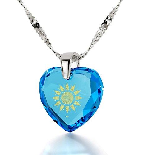Pendentif Coeur - Bijoux Romantique en Argent 925 avec I Love You to The Sun and Back inscrit à l'Or 24ct sur un Zircon Cubique en Forme de Coeur, 45cm - Bijoux Nano Bleu Lagon