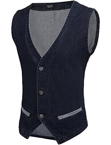 Jeansweste Männer Weste Slim Fit Beiläufige Cowboy Weste im Modern Design Jeansweste Schwarz M