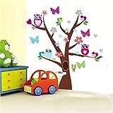 VERYWAN Sticker Mural sages hiboux butterflies sur Stickers muraux Arbre coloré pour Chambres d \ 'Enfants 1006 décoratif pépinière décor à la Maison PVCSticker Mural