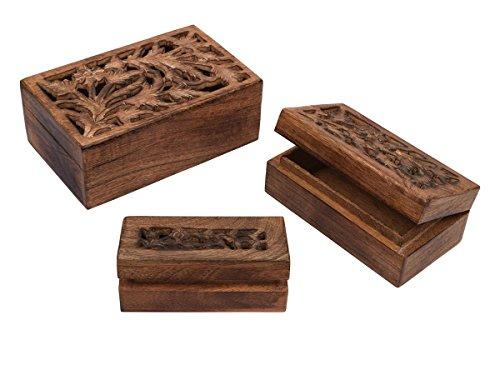 Storeindya regalo Set Di 3 Supporto Di Legno Di Jali Lavoro Gioielleria Trinket Keepsake Storage Box Organizzatore Multifunzionale Mano Petto regalo per donne e ragazze