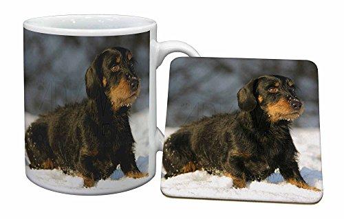 Advanta - Mug Coaster Set Langhaardackel Hunde Becher und Untersetzer Tier Geschenk Mug Coaster Set