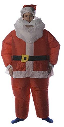 Costume da babbo natale gonfiabile brite ideas, altezza 180 cm con alimentazione a batteria