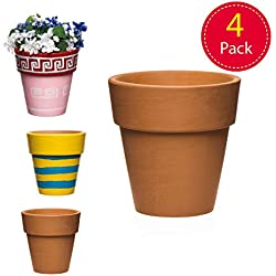 Baker Ross Ltd- Baker Ross Lot de 4 Pots de Fleurs en Terre Cuite 70 mm x 70 mm, AR459, Terracotta