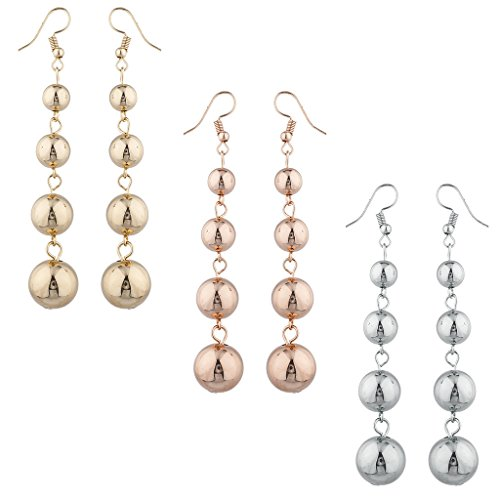 LUX Zubeh?r Gold Silber Rose Gold Ton Multi Ball Drop Ohrring Set 3prs - Ohrringe Ball Drop Gold