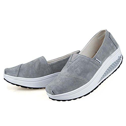solshine Chaussures en daim avec talon compensé chaussures de course Loafers Plateau Loisirs pour femme Gris - Gris
