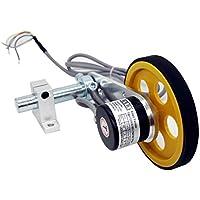 CALT GHW38 - Rodillo perimetral de 300 mm de longitud, medidor de posición, pulso de medición giratorio codificador de acero, soporte de resorte de montaje para riel de elevación