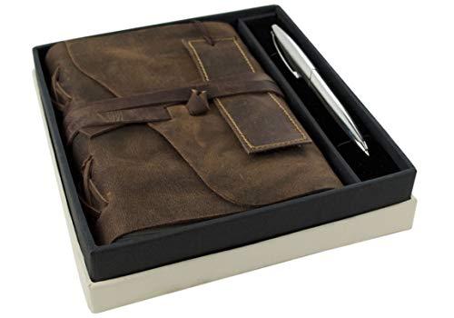 Life Arts Author Leder Notizbuch Handgefertigt mit Einband Geschenkset Rustikal, A5 mit Stiftschlaufe Blanko Seiten