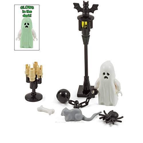 Scary Blocks Haunted Halloween Kit-Ghost Spider bat Ratte Bone Candlesticks & Lampe Limited Edition