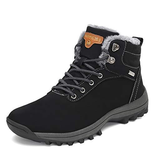 Mishansha Invernali Scarpe Uomo Donna Stivali da Neve Impermeabili Scarpe da Trekking Outdoor Antiscivolo Pelliccia Sneakers, Nero, 42 EU