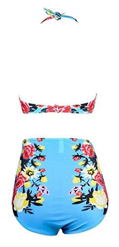 Frauen Elegant Blumen Hohe Taille Zweiteiler Bikini Set Badeanzug Bademode Blau