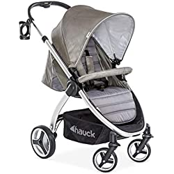 Hauck Lift Up 4 - Silla de paseo con asiento amplio, ligera, chasis aluminio, plegado libro con una mano, desde nacimiento hasta 25 kg, manillar regulable en altura, botellero, Charcoal (gris)