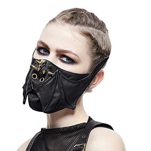Liabb Steampunk Maske Halloween Anime Stage Performance Maske Schädel Batman Vampire Horror Persönlichkeit Feld Maske,A,56 * 16CM