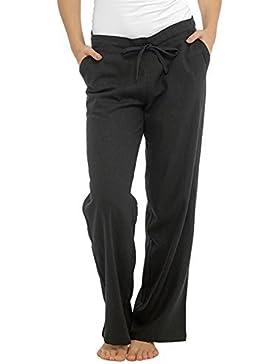 INSIGNIA Mujer Informal Pantalones de Lino Fresco Elástico Espalda Pantalones con Bolsillos