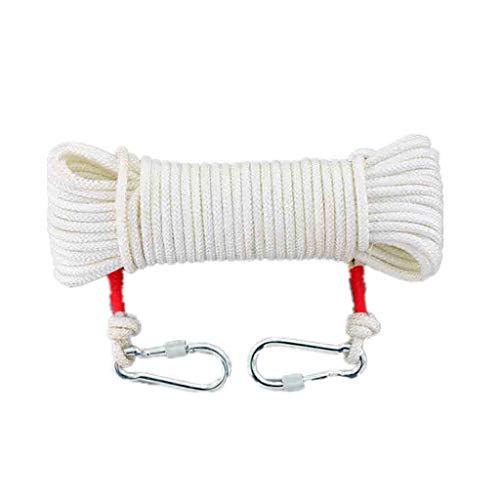 LQ Einfachseile Kletterausrüstung Weißes 9mm Nylon-Fluchtseil, trocknendes Seil der Kleidung der Haushaltshochtemperatur im Freien, Bergsteigensicherheits-Notrettungsleine (Color : 100m) -