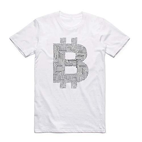 QIANZHIHE T-Shirt Uomo Camiseta De Bitcoin con Estampado De Hombre Camiseta De Verano De Manga Corta con Cuello En O, L