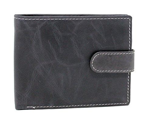 Topsum London Hommes Portefeuille Genuine Crunch Portefeuilles en cuir - Porte-monnaie - Boîte cadeau # 4019 - Noir
