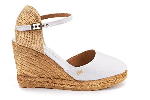 VISCATA Satuna Ankle-Strap, Closed Toe, Classic Espadrilles with 3-inch Heel Made in Spain Blanc - blanc