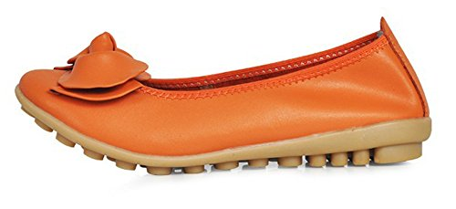 Fortunds Jds Confortable Mocassins Fleur Orteils En Cuir Split Rond Plat Chaussures Orange