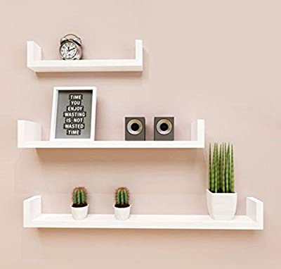 Three Pieces U Shaped Modern Design Wall Mounted Floating Shelves Display Rack \ Furniture Home House Cabinet Desk Shelf Stand Dresser Seat Dining Living Room Chairs Table Contemporary Stylish Unique Ottoman Stuff Parents Kids Outdoor Indoor Sleeping Besi
