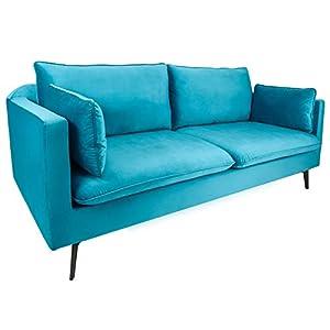 51c76e2e38cc7a Riess Ambiente Design 3er Sofa Famous blau 210cm Samt Federkern inkl.  Kissen Couch 3-Sitzer Samtbezug