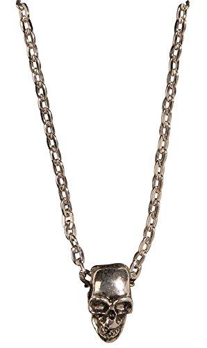 Halskette mit Totenkopf Anhänger in Silber - zum Piraten oder Geister Kostüm