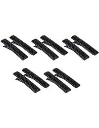 Fenteer 10x Schwarz Acryl Schneiden von Clips Klemmen Friseur Salon Abteilklammern Haarklemmen Combi-Clip