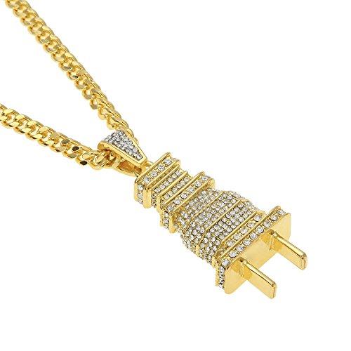 Mcsays Hip hop 18 carati placcato oro titanio spina a spina con strass catena cubana collana uomo gioielli per regalo