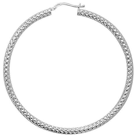 925 Sterling Silver Ladies Hoop Earrings - 50mm