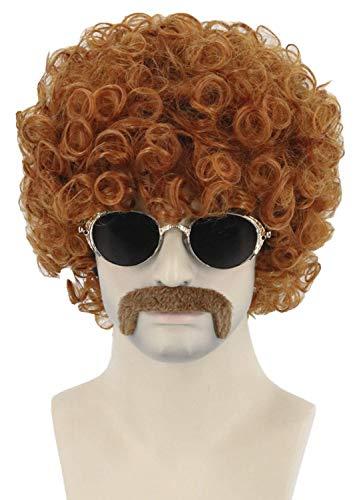 Topcosplay Unisex Afro Perücke mit Schnurrbart 70er Jahre Funky Hippie Perücke, Kurz Lockig Perücke Braun Lockenkopf für Fasching Kostüm Halloween