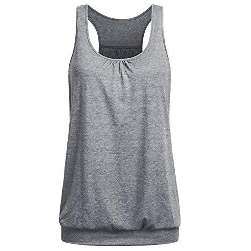 TWIFER Damen Ärmelloses T Shirt Rundhals Ausschnitt Wrinkled Loose Fit Sports Racerback Workout Tank Top