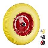 Relaxdays Vollgummireifen u. Stahlfelge, Ersatzrad pannensicher, 100 kg Traglast, gelb-rot Schubkarrenrad 4.80 4.00-8