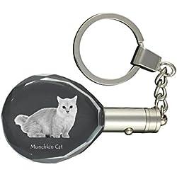 ArtDog Ltd. Chat Munchkin, Porte-clés en Cristal de Chat, Porte-clés, Cadeau Exceptionnel