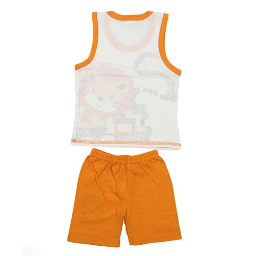 SODIAL(R) Conjunto de ropa de nino bebe  Camiseta de chicos chicas + pantalones camiseta pantalones cortos  Conjunto de pijama de ninos  Camisetas de ninos Nuevo  Leon Naranja  2T