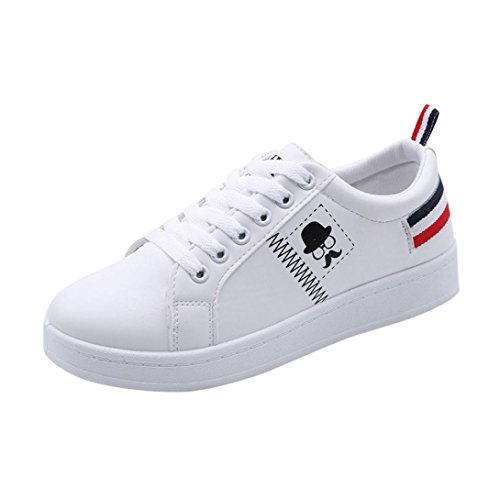 Amlaiworld Chaussures pour Femmes Baskets Rayées à la Barbe Fashion Chaussures Plates Blanches Occasionnelles Baskets Femmes Sports Running Sneakers (CN39, Blanc)